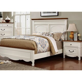 Furniture of America Ophelie Cottage Style 2-piece White Platform Bed and Nightstand Set