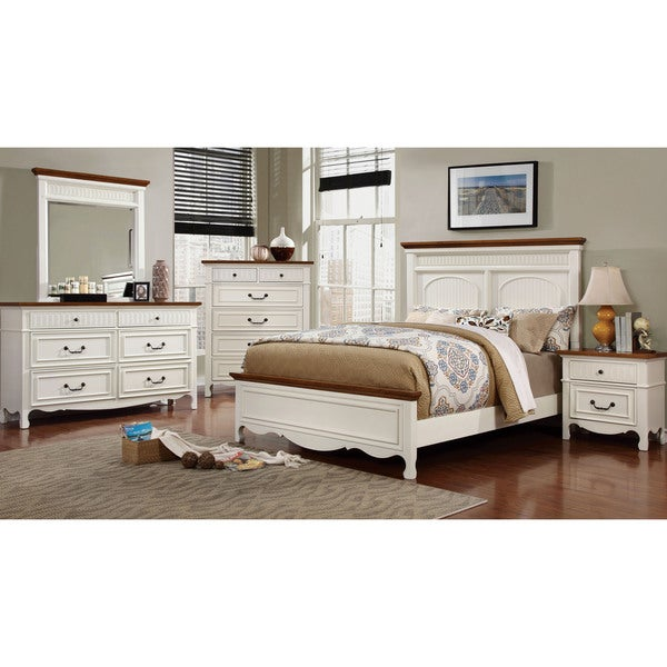 Furniture Of America Ophelie Cottage Style 4 Piece White Platform Bedroom Set Free Shipping