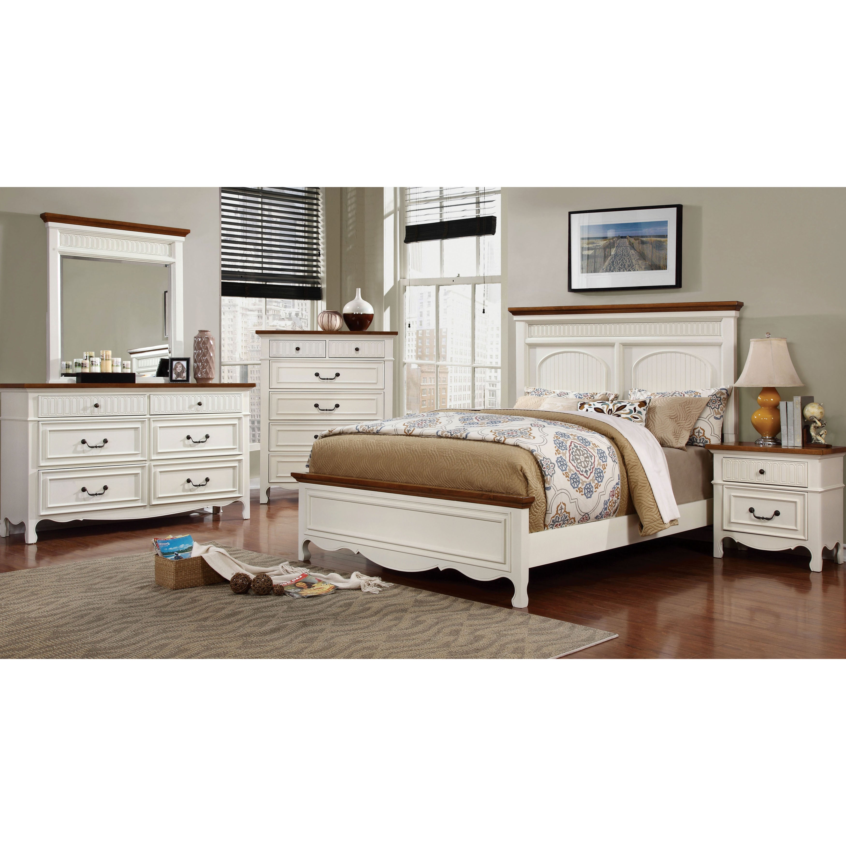 Furniture of America Ophelie Cottage Style 4-piece White ...