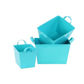 Light Blue Coated Finish Zinc Rectangular Tapered Bottom Buckets (Set of 3)