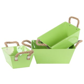 Yellow Green Coated Finish Zinc Rectangular Tapered Bottom Buckets with Rope Handles (Set of 3)