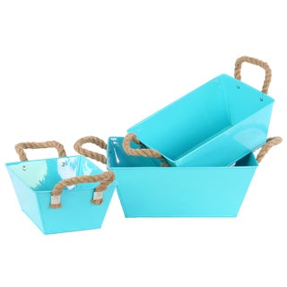 Light Blue Coated Finish Zinc Rectangular Tapered Bottom Bucket with Rope Handles (Set of 3)