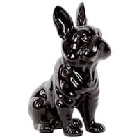 Ceramic Gloss Finish Black Sitting French Bulldog Figurine with Pricked Ears