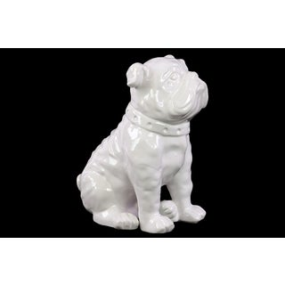 Ceramic Gloss Finish White Sitting British Bulldog Figurine with Collar
