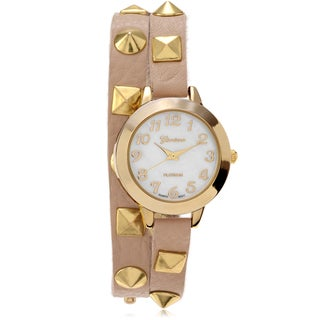 Geneva Platinum Studded Leather Wrap Watch