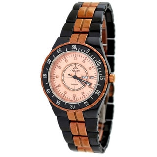 Oniss Women's Midsize Rose Gold Trim Black Ceramic Watch