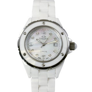 Oniss Women's Ceramic White Watch With Genuine Diamonds