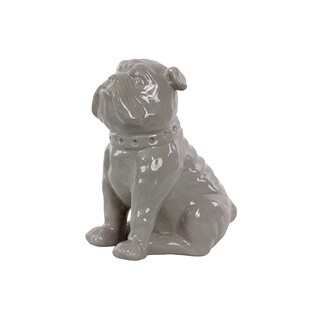 Ceramic Gloss Finish Gray Sitting British Bulldog Figurine with Collar