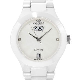 Oniss Mens Swiss Sapphire Ceramic Diamond Marker Watch