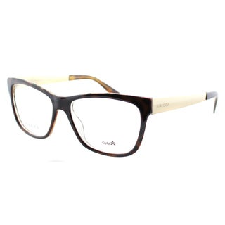 Gucci Women's 'Havana' Crystal Gold Plastic Rectangle Eyeglasses
