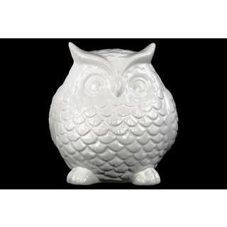 Urban Trends Standing Owl Gloss White Ceramic Figurine