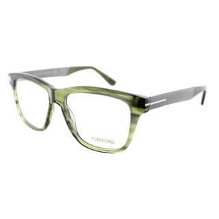 Tom Ford Unisex Striped Green and Gunmetal Plastic Rectangle Eyeglasses