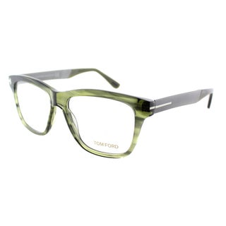 Tom Ford Unisex Striped Green and Gunmetal Plastic Rectangle Eyeglasses