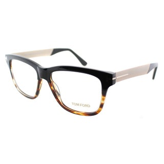 Tom Ford Unisex Black Tortoise and Gold Plastic Rectangle Eyeglasses