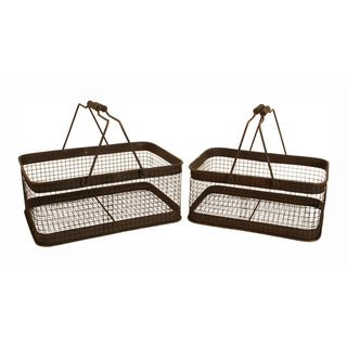Wald Imports Weathered Metal Wire Basket - Set of 2, Brown Wash
