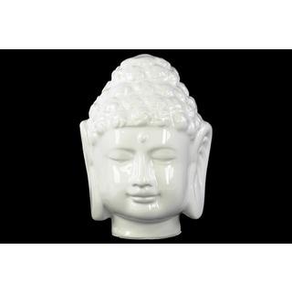 Porcelain Gloss Finish White Buddha Head with Beaded Ushnisha