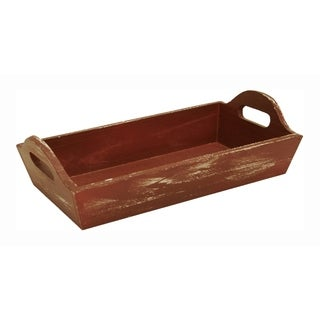 Wald Imports Weathered Red Wooden Serving Tray - Set of 2