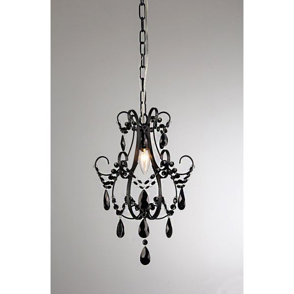 Nitasha 1-light Black-painted 11-inch Crystal Chandelier