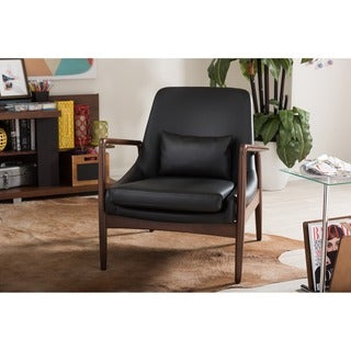 Baxton Studio Carter Mid-Century Modern Retro Black Faux Leather Upholstered Leisure Accent Chair in Walnut Wood Frame