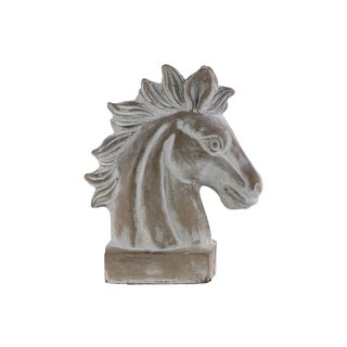 Washed Gray Cement Horse Head on Base