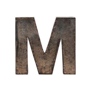 Metal Alphabet Wall Decor Letter 'M' Galvanized Finish Bronze