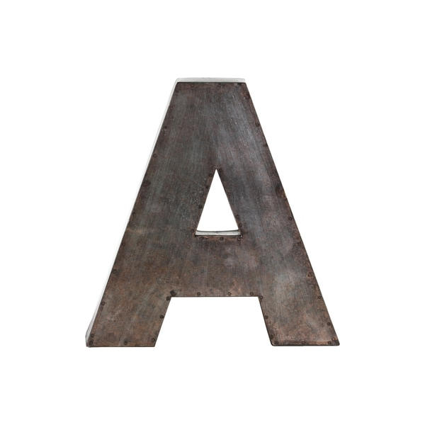 galvanized bronze metal alphabet a wall decor letter. Black Bedroom Furniture Sets. Home Design Ideas