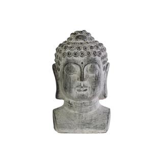 Washed Grey Cement Buddha with Beaded Ushnisha