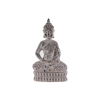 Urban Trends Washed Grey Cement Meditating Buddha Figurine in Dhyana Mudra