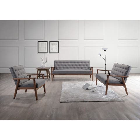 Baxton Studio Sorrento Mid-century Retro Modern Grey Fabric Upholstered Wooden 3-Piece Sofa Set