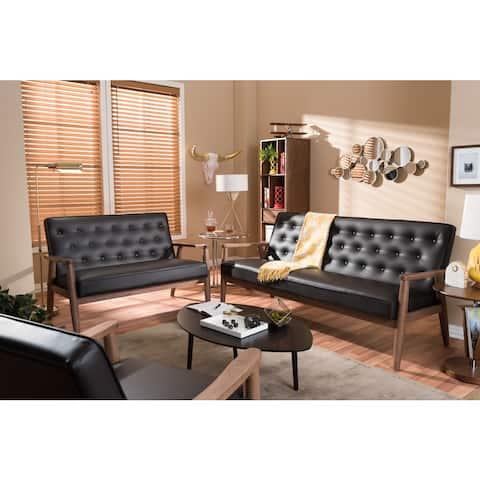 Baxton Studio Sorrento Mid-century Retro Modern Brown Faux Leather Upholstered Wooden 3-Piece Sofa Set