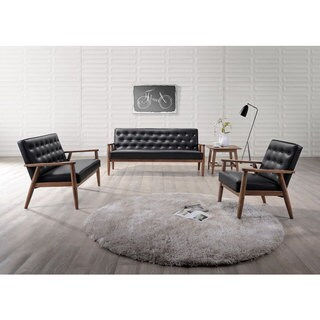 Baxton Studio Sorrento Mid-century Retro Modern Black Faux Leather Upholstered Wooden 3-Piece Sofa Set