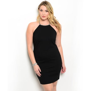 Shop the Trends Women's Plus Size Sleeveless Strappy Crisscross Back Little Black Dress