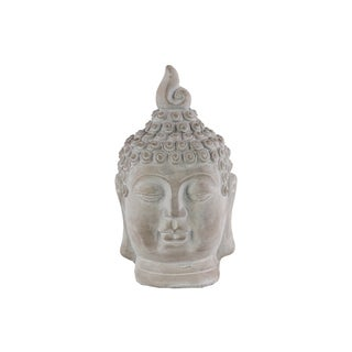 Urban Trends Washed Grey Cement Buddha Head Figurine with Pointed Ushnisha