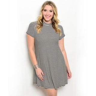 Shop the Trends Women's Plus Size Short Sleeve Allover Stripe Mock Neck Dress