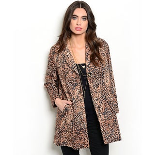 Shop the Trends Women's Long Sleeve Leopard Print Tunic Jacket
