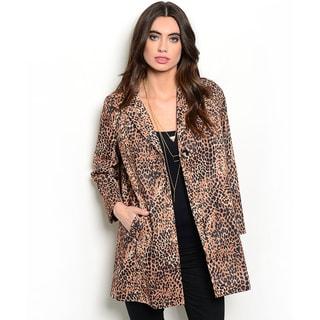 Shop the Trends Women's Long Sleeve Leopard Print Tunic Jacket