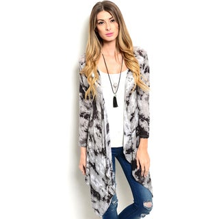 Shop the Trends Women's 3/4 Sleeve Allover Abstract Print Waterfall Front Cardigan