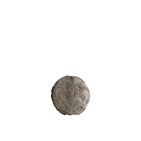 Washed Grey Cement Small Ornamental Sphere with Embossed Swirl Design