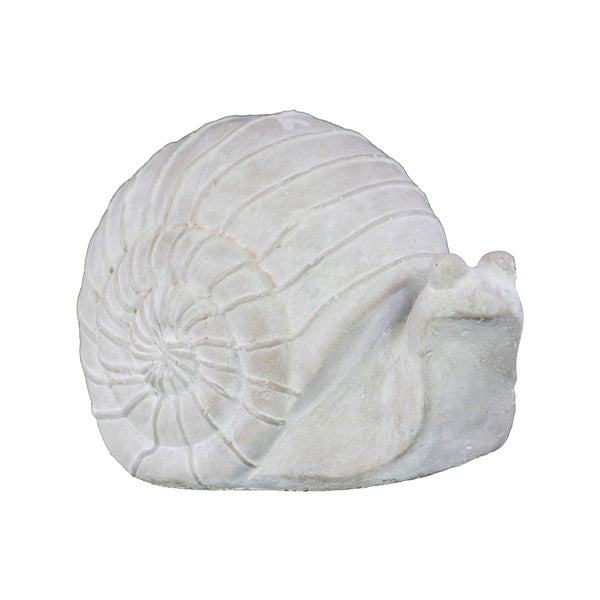 Cement Ribbed Grass Snail Figurine Washed Concrete Finish White