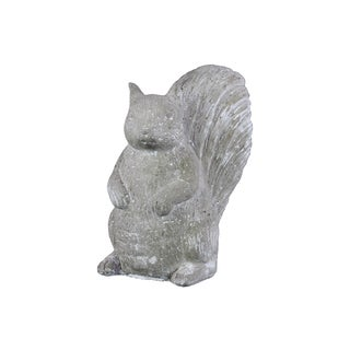 Cement Washed Concrete Finish White Standing Squirrel Figurine