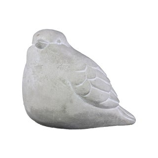 Cement Washed Concrete Finish White Bird Figurine