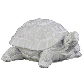 Cement Washed Concrete Finish White Standing Turtle Figurine