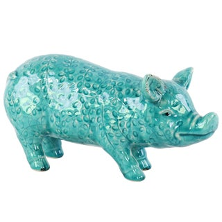 Gloss Turquoise Ceramic Standing Pig Figurine with Floral Pattern