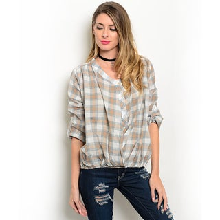Shop the Trends Women's 3/4 Folded Sleeve Allover Plaid Woven Top With Bubble Hem