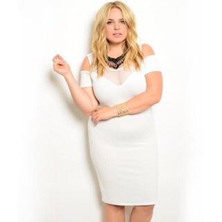 Shop the Trends Women's Plus Size Short Sleeve Sheer Mesh Yoke Bodycon Dress With Cutout Shoulders