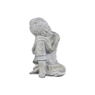 Cement Washed Concrete Finish White Sitting Buddha Figurine with Rounded Ushnisha and Head Resting on Knee