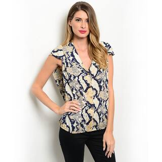 Shop the Trends Women's Cap Sleeve Snake Print V-neck Button Down Top|https://ak1.ostkcdn.com/images/products/11017740/P18034439.jpg?impolicy=medium