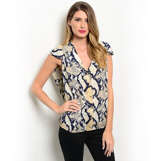Shop the Trends Women's Cap Sleeve Snake Print V-neck Button Down Top