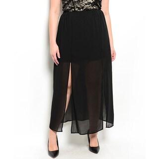 Shop the Trends Women's Plus Size Sheer Maxi Chiffon Skirt