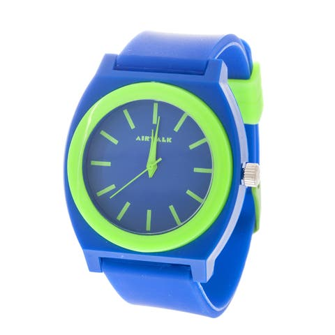 Airwalk Analog Blue Case with Blue Silicone Strap Watch